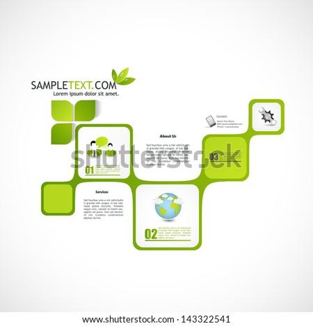 Abstract web site green design, vector template  - stock vector