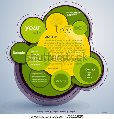 Abstract web site green design, vector template - stock vector