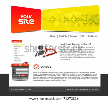 abstract web site template design, vector illustration. - stock vector