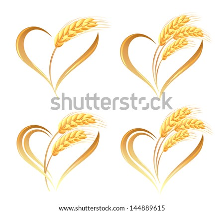 Abstract wheat ears icons with heart element - stock vector