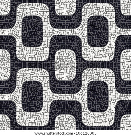 Abstract white and black wave pavement pattern background. Vector file layered for easy manipulation and coloring. - stock vector