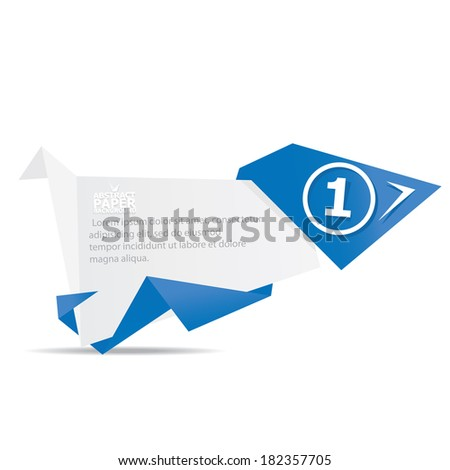 Abstract white and blue paper origami banner . Vector origami Speech bubble. Vector abstract paper background for website or cover design. blue stylish brochure for text and advertising.