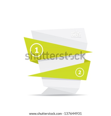 Abstract white and green paper origami background. Vector origami Speech bubble. Vector abstract origami background for website or cover design. Green stylish brochure for text and advertising. - stock vector