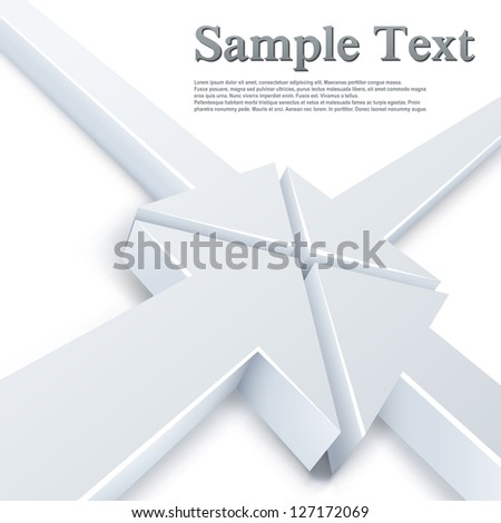 Abstract 4 white arrows meeting in one point concept. Business vector background. - stock vector