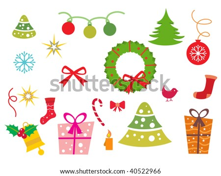 abstract white background with collection of xmas icons