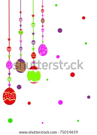 abstract white background with decorated hanging egg, vector illustration
