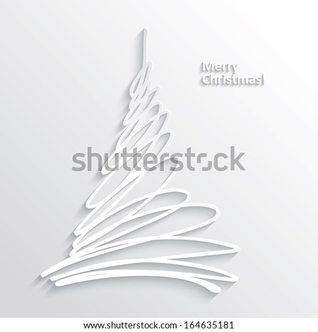 Abstract White Christmas Tree on White Background, Flat Design. Vector Illustration EPS10 - stock vector
