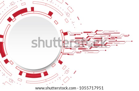 Abstract White Circle Red Color Tech Stock Vector 1055717951 ...