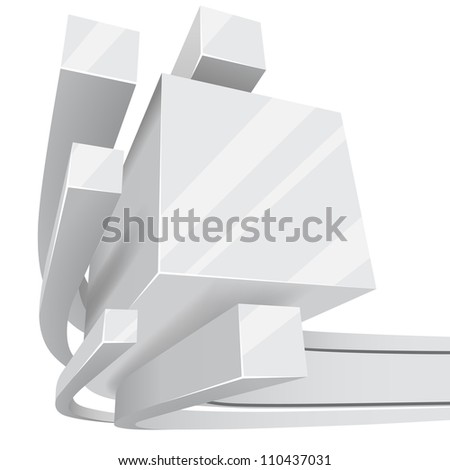 Abstract white 3D square rails background with copy space. - stock vector