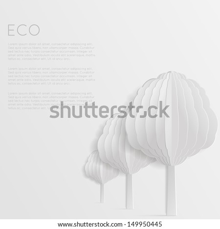 Abstract white eco background. Ecology concept. Geometric modern origami style. - stock vector