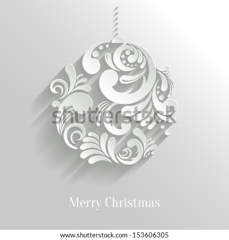 Abstract White Floral Christmas Ball, creative vector illustration - stock vector