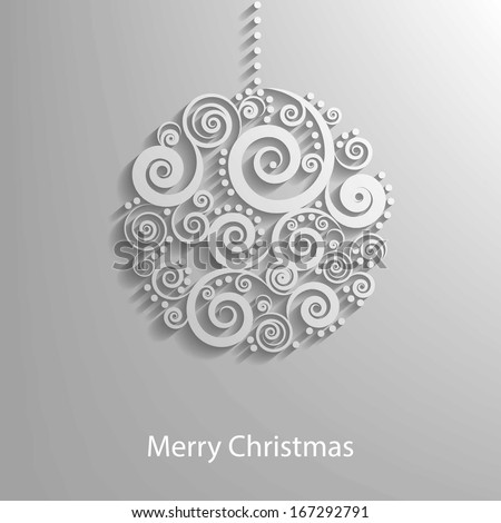 Abstract White Floral Christmas Ball, creative vector illustration   - stock vector