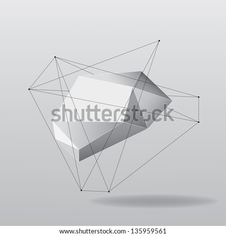 Abstract white geometric background with lines, vector - stock vector