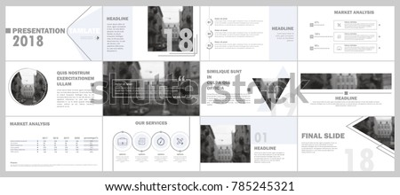 Abstract white, gray presentation slides. Modern brochure cover design. Fancy info banner frame. Creative infographic elements set. Urban city font. Vector title sheet model. Ad flyer style template