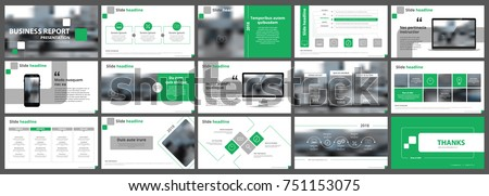 Abstract white, green presentation slides. Modern brochure cover design. Fancy info banner frame. Creative infographic elements set. Urban city font. Vector title sheet model. Ad flyer style template