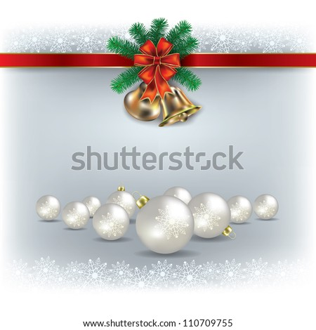Abstract white greeting with Christmas bells and decorations - stock vector