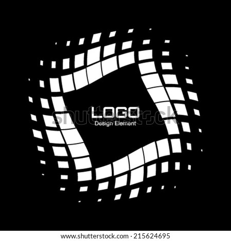 Abstract White Halftone Logo Design Element, vector illustration - stock vector