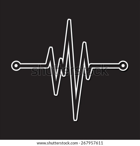 Abstract white heart beats cardiogram. dark black background. illustration. vector. - stock vector