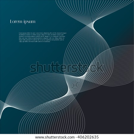 Abstract white lines on black and blue background with text. Vector background for design magazines and leaflets - stock vector