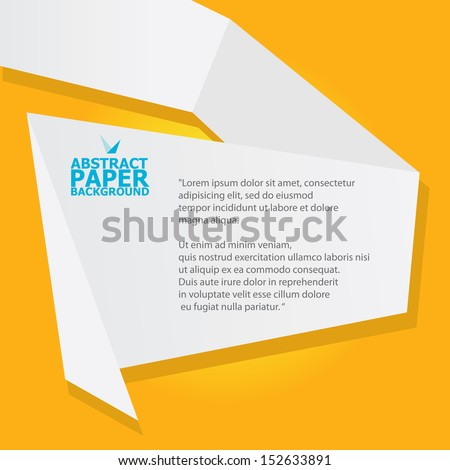 Abstract White Origami Paper Banner On Orange Background Vector Speech Bubble