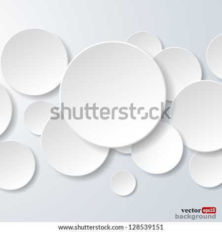 Abstract white paper circles on light blue background. Vector eps10 illustration