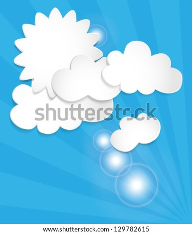 Abstract white paper  clouds on blue background. Vector eps10 illustration