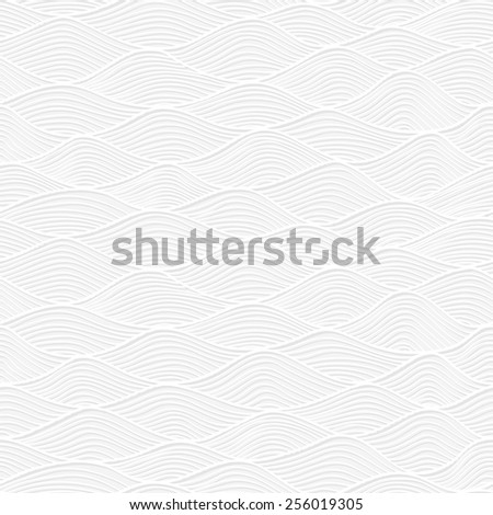 Abstract white paper lace texture, vector seamless pattern with waves - stock vector