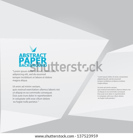 Abstract white paper origami background. Vector origami Speech bubble. Vector abstract origami background for website or cover design. White stylish brochure for text and advertising. - stock vector