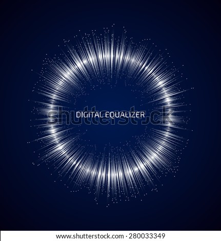 Abstract white round music equalizer with dots on dark blue background. Vector illustration - stock vector