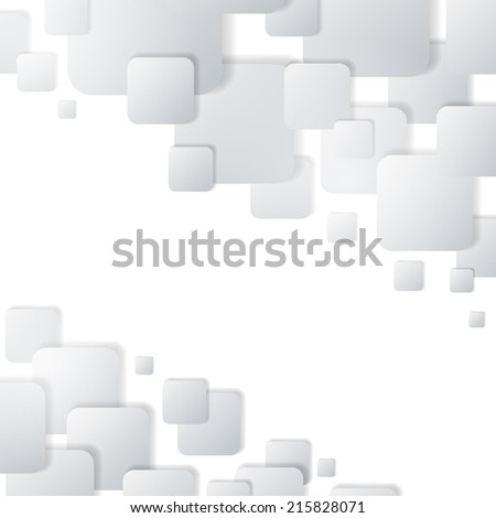 Abstract white rounded squares card design with copy space. - stock vector
