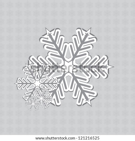 Abstract white silver vintage winter snowflakes design