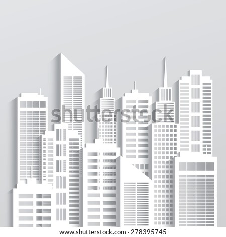 Abstract white skyscrapers made of paper. Modern city skyline building industrial paper landscape skyscraper offices.Vector Illustration - stock vector