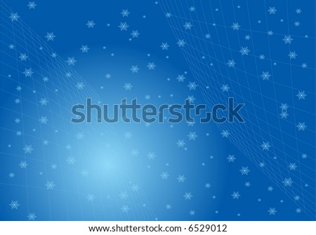 Abstract white snowflakes on blue background