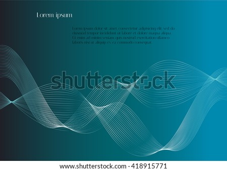 Abstract white waves on a blue background. Abstract smooth lines on blue background with text. Vector background for design magazines and leaflets - stock vector