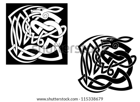 Abstract wild animal with ornamental elements in celtic style, such a logo template. Jpeg version also available in gallery - stock vector