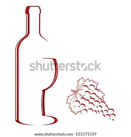 Abstract wine bottle & glass design vector - stock vector