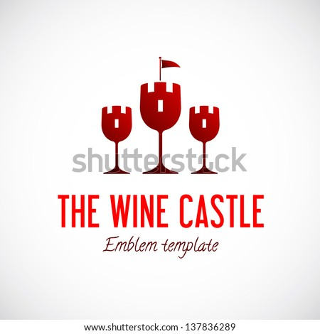 Abstract wine glass castle logo template - stock vector