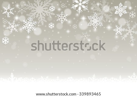 Abstract winter background with falling snowflakes and snow