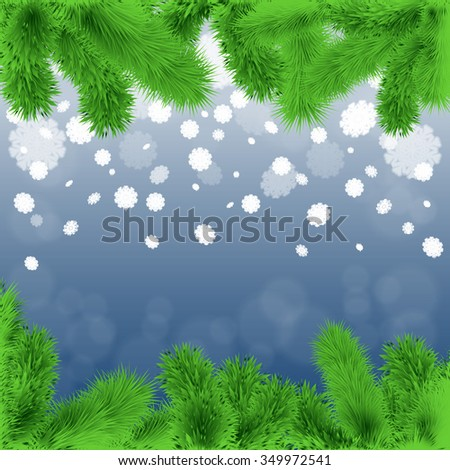 Abstract winter background with fir branches and flying snowflakes. Stock vector. - stock vector