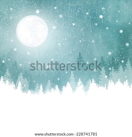 Abstract winter background with rows of fir trees, full moon and snowfall. Peaceful winter landscape in shades of blue, green. copy space. - stock vector