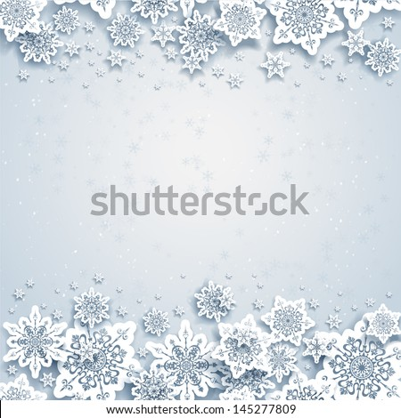 Abstract winter background with snowflakes - stock vector