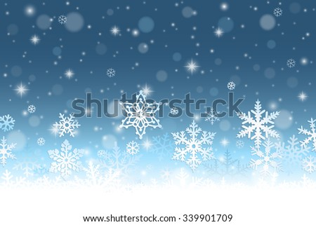 Abstract winter background with snowflakes and snow - stock vector