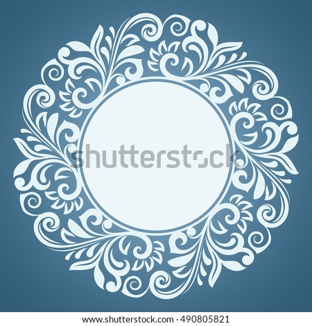 Abstract winter floral frame vector template. Blue and white round ornamental frame for Christmas card design.