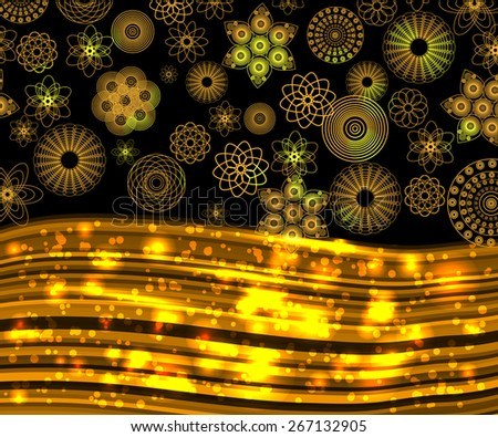 abstract winter frame with golden snowflakes for your text or presentation. ready vector template for your design    - stock vector