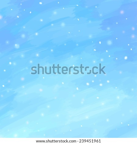 Abstract winter hand drawn watercolor blue background. Tracing vector illustration, eps10. - stock vector