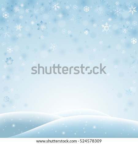 Abstract winter landscape with falling snowflakes and hills of snow