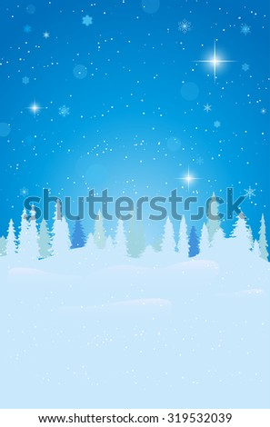 Abstract winter landscape with snow, forest and starry night sky - vector illustration - stock vector