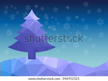 Abstract winter polygon background with Christmas tree and snowflakes, illustration.
