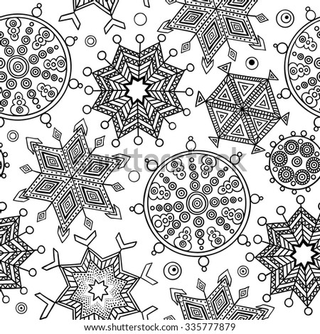 abstract winter seamless pattern with colored doodle snowflakes black and white new year art print - Coloring Book Paper Stock