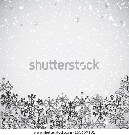 Abstract winter silver snowflakes background  - stock vector